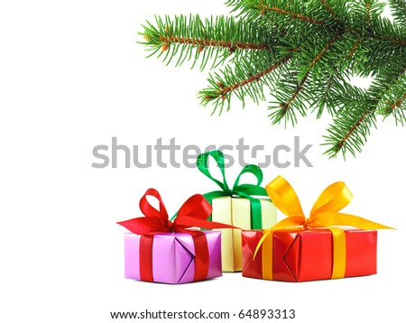 Three various gift wrapped presents under a green spruce branch with copy space, isolated on white - stock photo