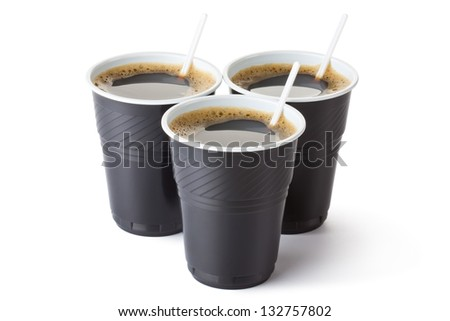 Three vending coffee cups. Isolated on a white. - stock photo