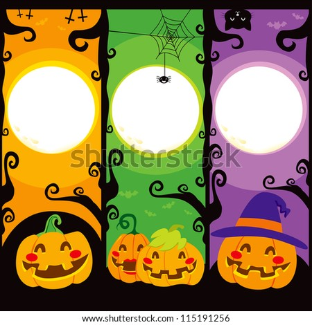 Three vertical banners with Pumpkins for Halloween - stock photo