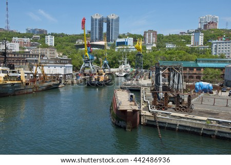 Three vessels are moved   into dry dock for   long-term repair - stock photo