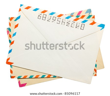 three vintage envelope back sides isolated on white