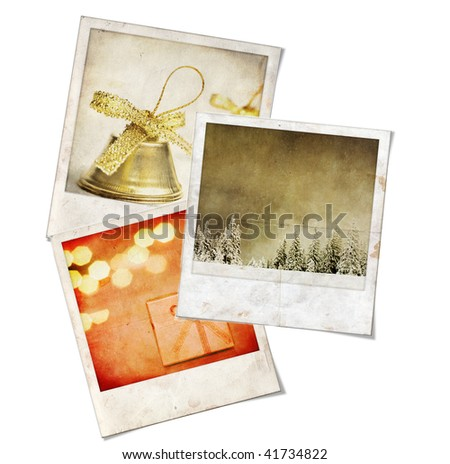 Three Vintage instant photo picture with christmas themes - stock photo