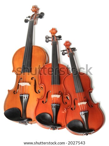 Three violins on white background. The Hard light. - stock photo