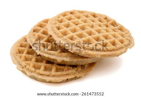 three waffles on white background  - stock photo