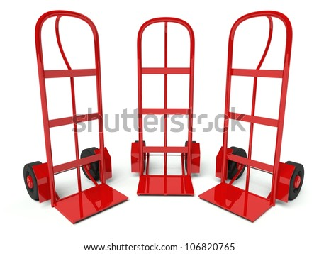 Three warehouse empty hand trucks isolated on white background
