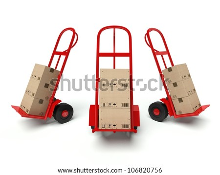 Three warehouse hand trucks with cardboard boxes isolated on white background - stock photo