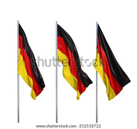 three waving flags of Germany on a white background - stock photo