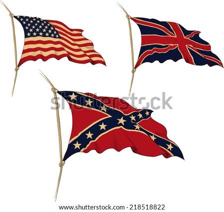 Three waving the old flag. USA, UK, Confederation - stock photo