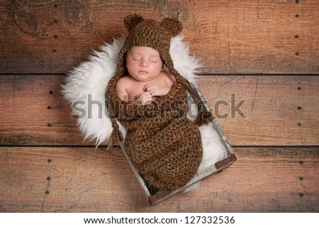 Three week old newborn baby boy wearing a brown crocheted bear hat and sleeping in a vintage wooden box. Shot in the studio on a rustic wood background. - stock photo