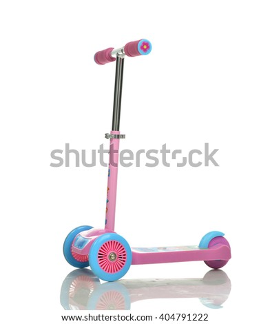 Three Wheel Adjustable Height pink Scooter isolated on white background - stock photo