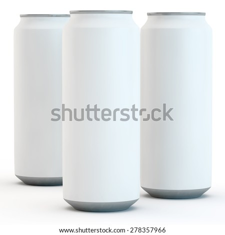 three white banks for beer or drinks on a white background - stock photo