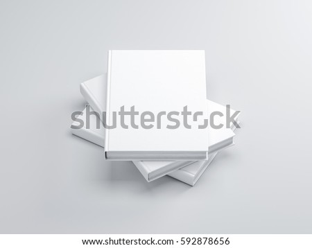 Three White Books mockup with hard cover, 3d rendering