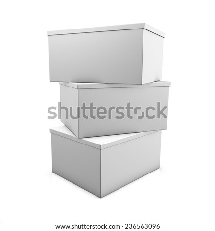 Three white boxes are on top of each other. Isolated on white background  - stock photo