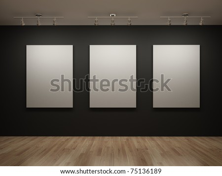 Three white canvas on a black wall in the gallery - stock photo
