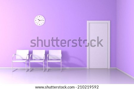 Three white chairs and wall clock in the waiting room - stock photo