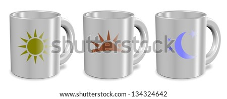 Three white cups with morning day and night icons on them / Morning day night cups - stock photo