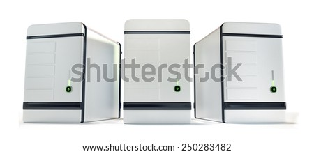 Three white futuristic hosting servers with green diodes isolated on white background - stock photo