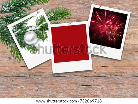 Three White Picture Frames On Wooden Stock Photo Royalty Free