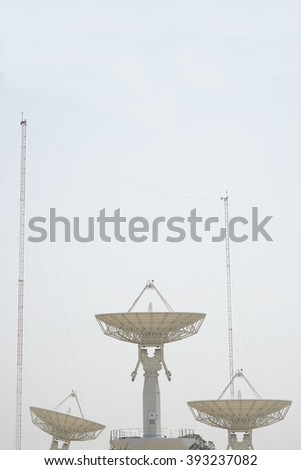 Three white satellite dish with clear sky