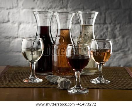 Three wine brands - stock photo