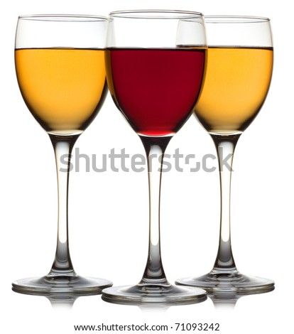 Three wine glass isolated over white background