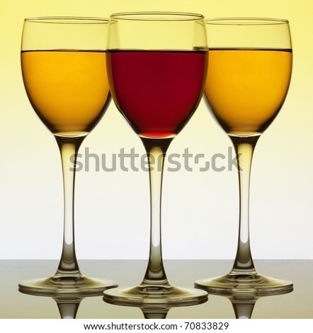 Three wine glass over yellow background