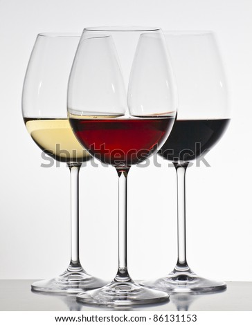 Three wine glasses - stock photo