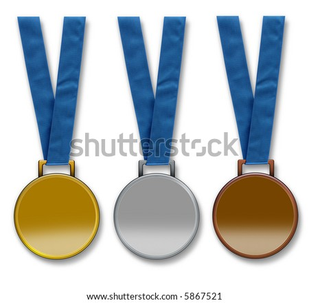 Three winners medals hanging from ribbon. Gold, silver and bronze. The medals are left blank to enable text to be added. Isolated on a white background