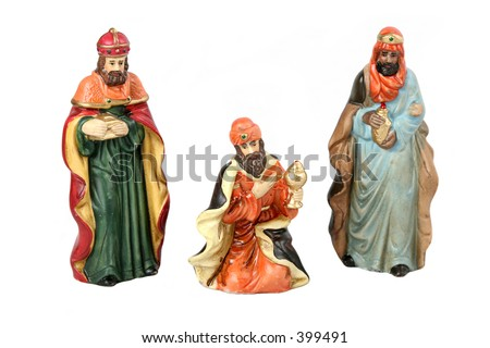 Three wise men, isolated separately. - stock photo