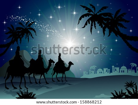 Three Wise Men with camel in the starry night landscape with eastern - stock photo