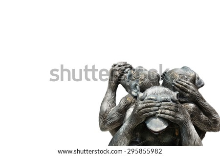 Three wise monkeys or Three Mystic Apes sacred ancient icon isolated on white background  - stock photo