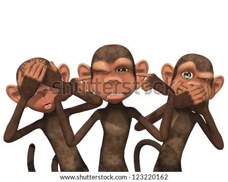 Three Wise Monkeys - See No Evil, Hear No Evil, Speak No Evil - stock photo