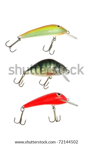 three wobbler for fishing on white background - stock photo