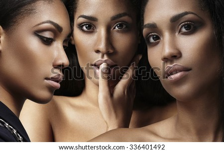 three woman's faces collage about ideal skin - stock photo