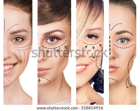 Three women smiling in plastic collage - stock photo
