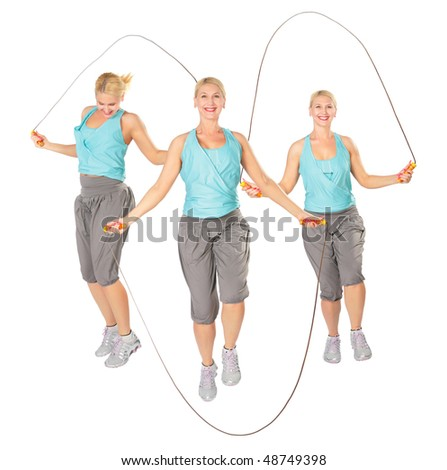 Three women with a skipping rope, collage - stock photo