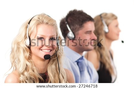 Three working in in a call centre - stock photo