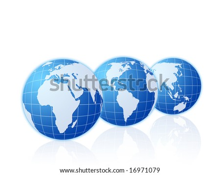 Three world globes isolated on a white background.