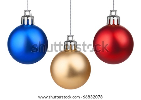 Three Xmas baubles. Isolated on white. - stock photo