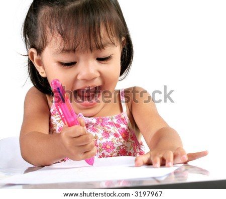 Three Year Old Asian Girl playing with Pen and Paper - stock photo