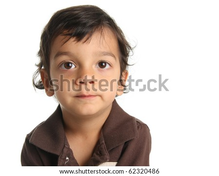 Three year old boy of Caucasian and Indian heritage. - stock photo