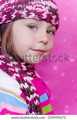 three year old girl posing for Christmas event - stock photo