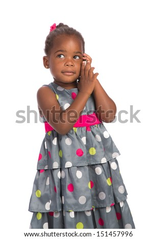 Three Years Old Adorable African American Girl Talking on Cellphone Isolated White Background - stock photo