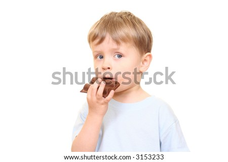 three years old boys with chocolate isolated on white