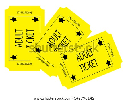 Three Yellow Adult Tickets
