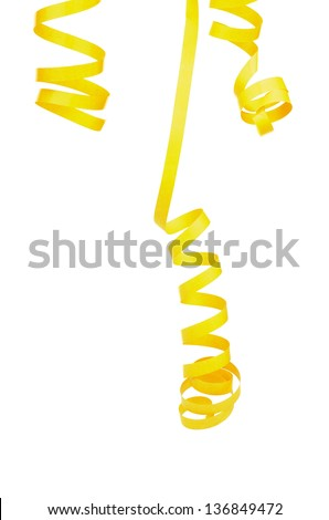 Three Yellow Curl Party Streamers Hanging Down isolated on white background - stock photo
