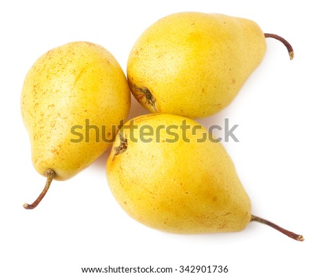 Three yellow pears isolated on the white. - stock photo
