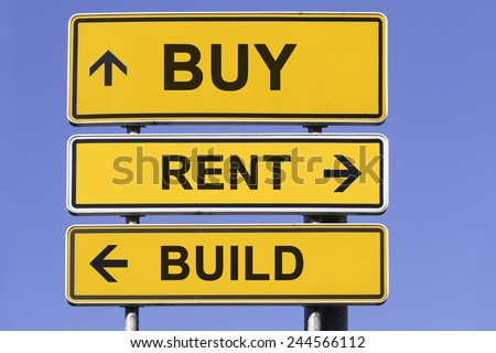 three yellow signs with arrows  in front of a blue sky showing the ways to build, buy or rent. Concept for marketing real estate - stock photo