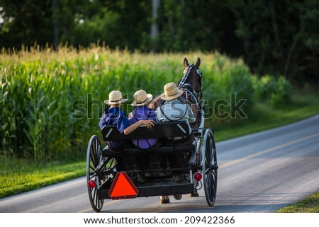 Three young Amish men in open buggy going down country road in rural Pennsylvania. - stock photo