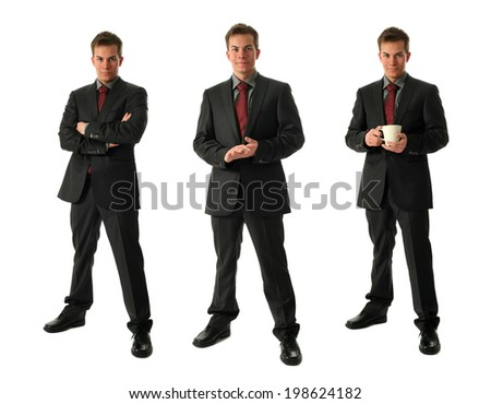 Three young businessmen holding a cup of tea isolated on white - stock photo